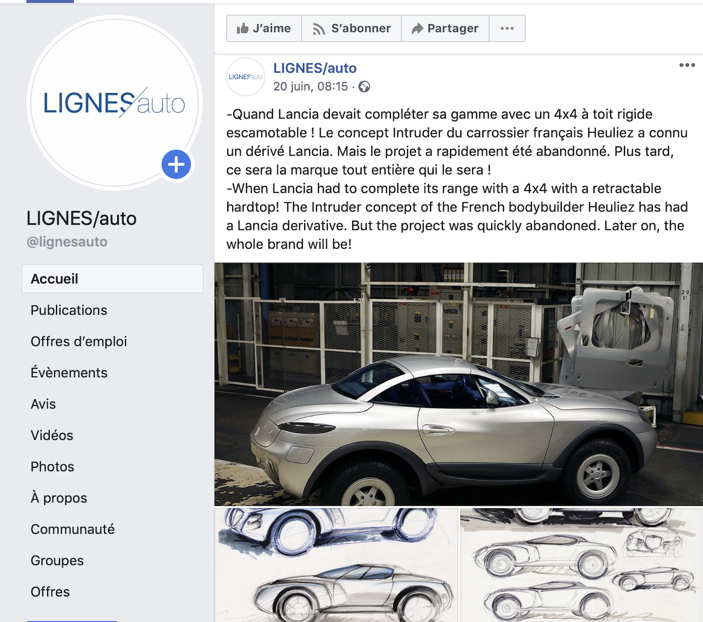 ENGLISH- LIGNES/auto is also a Facebook page and a Youtube channel